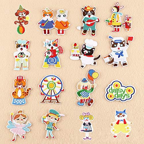 Coser O Planchar En Los Parches Apliques Para Ropa Camiseta Jeans Sombrero, estilo de circo animal de dibujos animados de 16 piezas