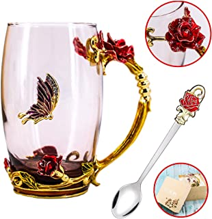 Tea Cup, Mother's Day Gifts, Coffee Mug, Clear Glass Cups with Spoon Set, Lead Free Handmade Butterfly, Unique Rose Flower Enamel Design, Birthday Decoration Wedding Gift Ideas (Red Tall)
