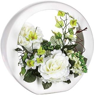 Atmosphera - Composition Florale Artificielle Roses dans Une coupelle en céramique H 28 cm