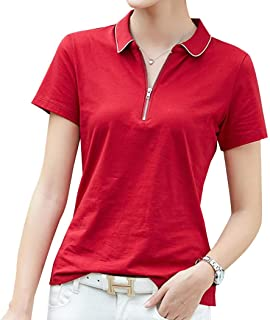 KUKAKI(クカキ) ポロシャツ 半袖 ファスナー レディース スリム 無地 テニスウェア カットソー ゴルフウエア オフィス ポロ 綿シャツ 夏用