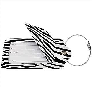 Black White Zebra Print Luggage Tag Suitcase Labels Travel Bag