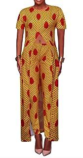 FSSE Womens African Print Short Sleeve High Split Maxi Dress Top & Pants Outfits