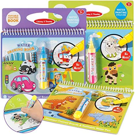 Joyfia Water Drawing Books Mess Free Coloring Books for Toddlers Water Doodle Painting Board product image