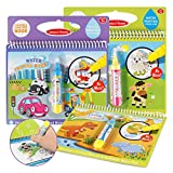 Joyfia Water Drawing Books, Mess-Free Coloring Books for Toddlers, Water Doodle Painting Board with Pen, Educational Birthday Gift Toys for Kids Girls Boys (Dinosaur & Cartoon & Vehicle)