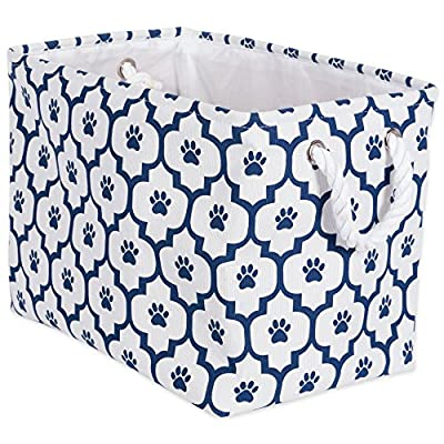 "DII Bone Dry Medium Rectangle Pet Toy and Accessory Storage Bin, 16x10x12"", Collapsible Organizer Storage Basket for Home Décor, Pet Toy, Blankets, Leashes and Food-Navy Lattice Paw Print"