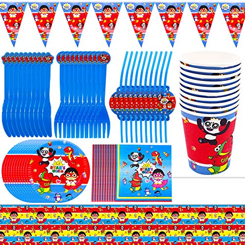 SZWL 81pcs Party Geschirr Set,einschließlich Teller, Tassen, Tischdecke, Trinkhalme,Wimpeln,Servietten, Gabeln und Messer,Party Supplies für Kinder Serves 10 Guests