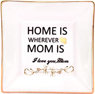 LEBOO Gift for Mom from Daughter or Son, Ceramic Ring Dish Decorative Jewelry Tray - Home is Wherever Mom is, Gifts for Mother`s Day Birthday Thanksgiving Day Christmas