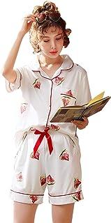 (レコーン) Lecoon レディース パジャマ 100%綿 ルームウェア 前開き Vネック半袖 和風 部屋着 肌触り 寝間着 上下セット春 夏 快適 2点セット 便利服 花柄
