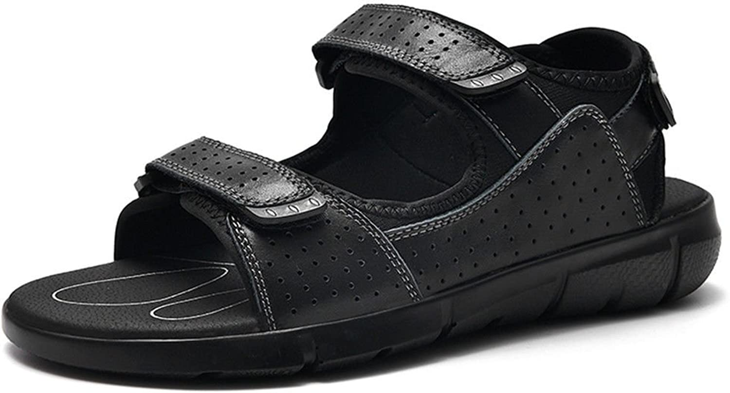 GCH In summer beach shoes Leather Men's sandals slippers,41,black
