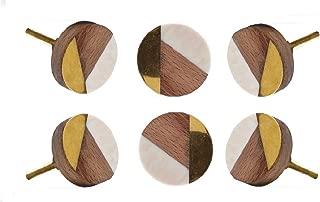 Set of 12 Cabinet Knobs Wooden Round Adington White Handmade Drawer Pull Diameter 1.4