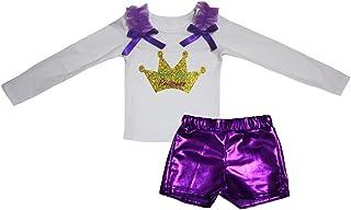 Petitebella Girls' Mardi Gras Princess White L/S Shirt Bling Short Set