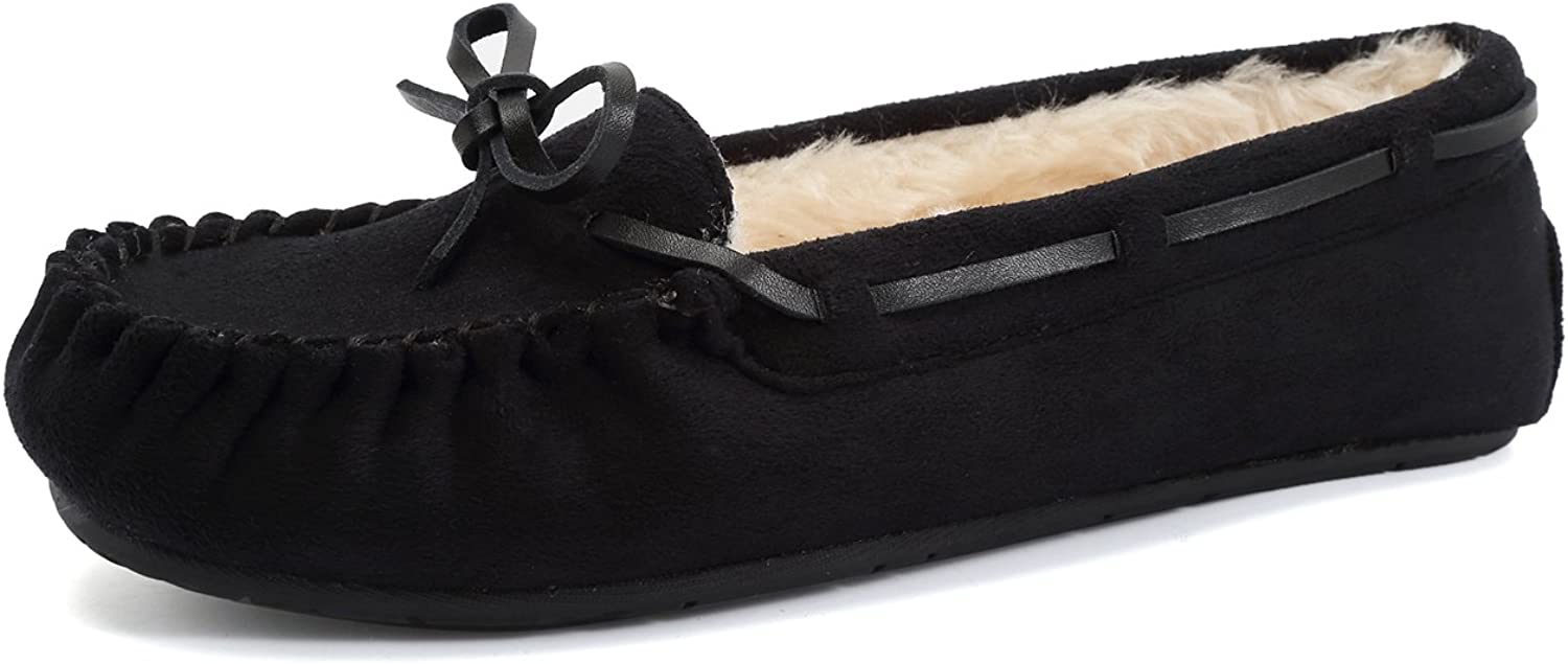 CIOR Fantiny Women's Memory Foam Slipper Suede Faux Fur Lined Indoor & Outdoor Moccasins Slip On
