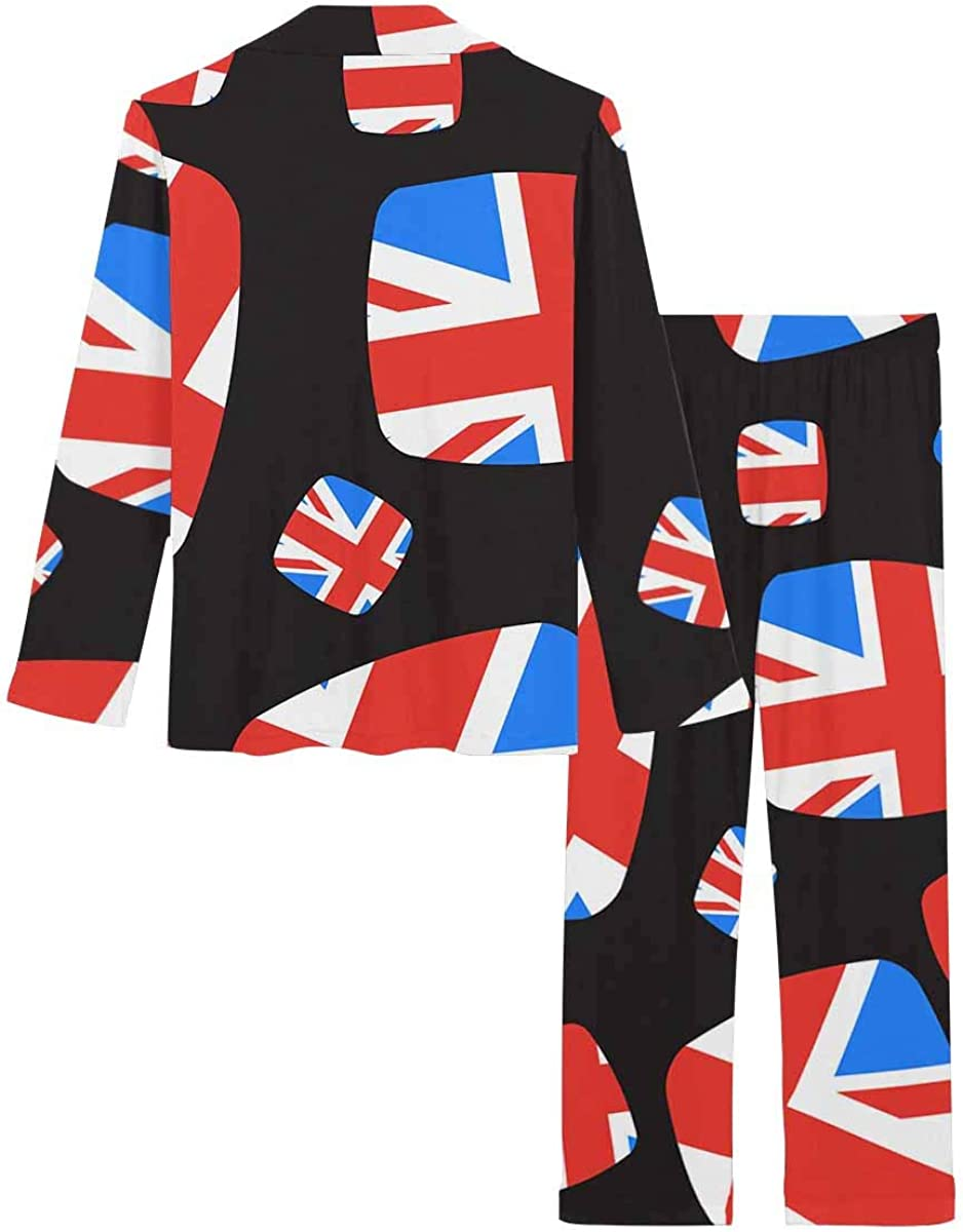 InterestPrint Women's Nightwear Notch Collar Loungewear with Long Pants Pattern with Union Jack Flag Elements