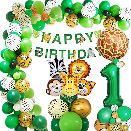 1 Anno Giungla Decorazione di Compleanno Palloncino Ragazzi ,AcnA 1 compleanno bimbo Palloncini Animali Giungla di Safari Happy Birthday Striscione Decorazioni Ragazzo 1 Anno Compleanno Riutilizzabile