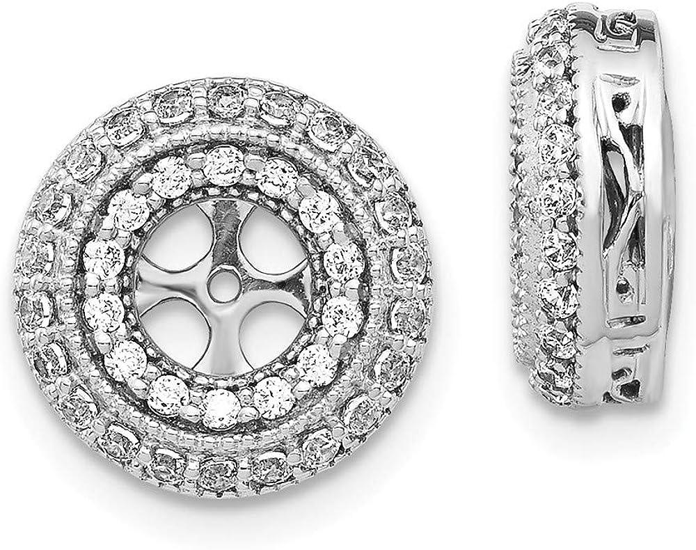 14K White Gold Diamond Round Earring Jackets 4.50 mm Opening for Stud Earrings (0.52Cttw)
