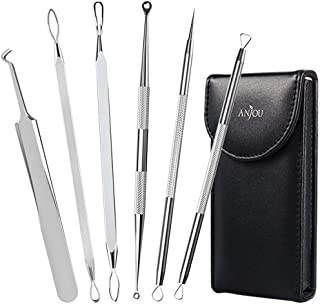 Anjou Blackhead Remover Comedone Extractor, Curved Blackhead Tweezers Kit, 6-in-1 Professional Stainless Pimple Acne Blemish Removal Tools Set