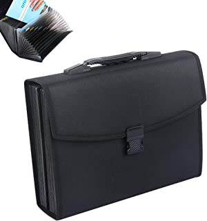 Oak-Pine 26 Pockets Expanding File Folder - Large Oxford A4 US Letter Size Expandable File Organizer Self Document Accordion File Folder Wallet Briefcase Business Filing Box with Handle(Black)