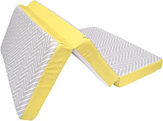 Clevamama Clevamama Clevafoam Travel Cot Mattress 95x65 cm - Foldable Mattress with Breathable Foam - Grey/ Yellow