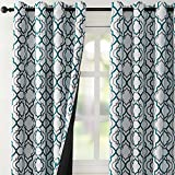 Reepow Full Blackout Thermal Insulated Curtains 63 inch Length, Moroccan Fashion Blackout Grommet Window Curtains for Bedroom Living Room 2 Panels, 52' x 63', Teal and Grey