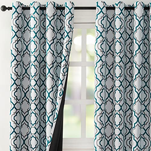 """Reepow Full Blackout Thermal Insulated Curtains 63 inch Length, Moroccan Fashion Blackout Grommet Window Curtains for Bedroom Living Room 2 Panels, 52"""" x 63"""", Teal and Grey"""