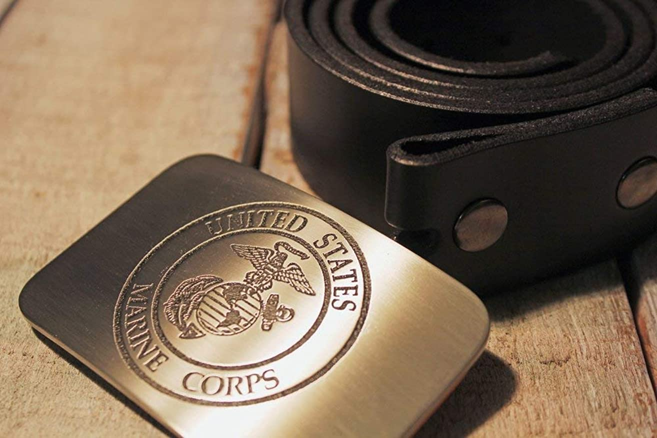 Marine Corps USMC Etched Metal Belt Buckle