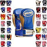 Farabi Boxing Gloves Kids Junior Muay Thai Kick Boxing Training MMA Punching Gloves (Blue Gold, 2OZ)