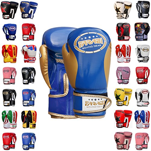 Farabi Boxing Gloves Kids Junior Muay Thai Kick Boxing Training MMA Punching Gloves (Blue Gold, 2OZ)