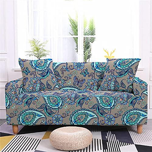 Funda de Sofá Elastica 4 Plazas Flor Azul Gris 3D PoliéSter Spandex Universal Ajustable Cubre Sofas Antisuciedad Antideslizante Protector Cubierta Muebles con Cuerda de Fijación