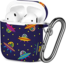[ Compatible with AirPods 2 and 1 ] Shockproof Soft TPU Gel Case Cover with Keychain Carabiner for Apple AirPods (Wallpaper Children Aliens Space)