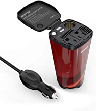 BESTEK 200W Car Power Inverter with 2 AC Outlets and 4.5A Dual USB Charging Ports Car Adapter with Car Cigarette Lighter Socket … (Cola Red)