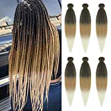 Pre stretched Braiding Hair Ombre Color Rainbow Braid Hair Extensions in 6 Packs Synthetic EZY Braids Hair for Braiding Hair Easy Braid Yaki Hair(30inch,1b/27/613#)