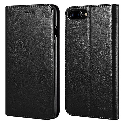 icarercase iPhone 7 Plus/8 Plus Wallet Case, Premium PU Leather Folio Flip Cover with Kickstand and Credit Slots for Apple iPhone 7 Plus/8 Plus 5.5 Inch (Black)