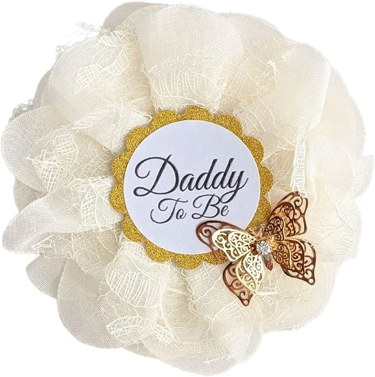 Daddy To Be Button | Dad To Be Pin| Gold Butterfly Baby Shower Ribbon | 3.5