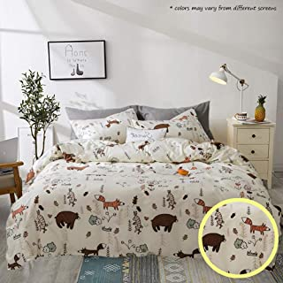 Jumeey Duvet Cover Bear Print 3 Pieces Animal Kids Bedding Sets Twin Yellow for Boys Girls 100% Cotton Hotel Quality Bedding Collection, Soft, Hypoallergenic