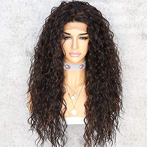 Saphirewigs Mix Brown Color Kinky Curly Black Women Daily Makeup Kanekalon Heat Resistant Hair Synthetic Lace Front Party Wigs With Baby Hair
