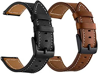 LDFAS Galaxy Watch 46mm Bands, Genuine Leather 22mm Watch Strap with Black Buckle Compatible for Samsung Galaxy Watch 46mm, Gear S3 Frontier/Classic Smartwatch Brown+Black (2 Pack)