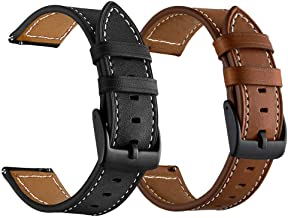 LDFAS Compatible for Vivoactive 3 Bands, Genuine Leather 20mm Watch Strap with Black Metal Buckle Compatible for Garmin Vivoactive 3 Music/Forerunner 645/245 Smartwatch, Brown+Black (2 Pack)