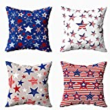 Musesh Set of 4 Christmas Pillow Covers, Christmas Decor Throw Pillow Covers Cushion Cover 20X20 Pillow Covers Decorative USA Flag Stars Pattern Modern Design Background for Sofa Home Pillow Covers