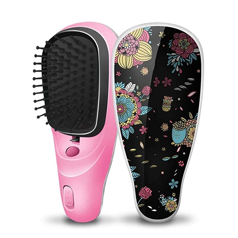 仮定浴室メダル否定的なイオン振動マッサージの毛のストレートナ、小型携帯用電気櫛USBの充満滑らかでまっすぐな毛の櫛