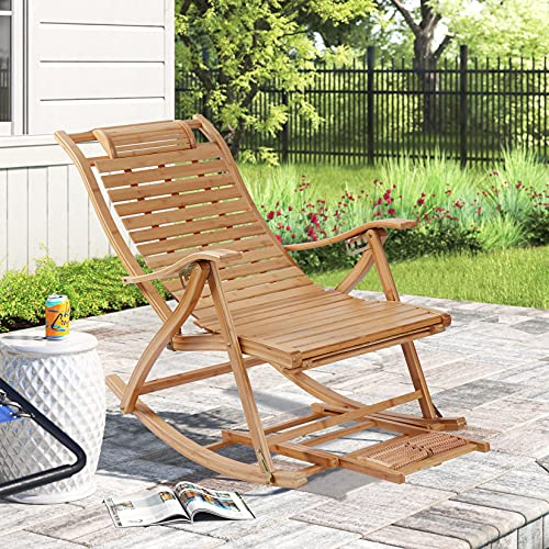 Wisfor Reclining Patio Chairs Outdoor Recliner Folding Chair Bamboo Rocking Chair with Headrest Pillow and Foot Massage Board for Max Loading Weight 441lbs