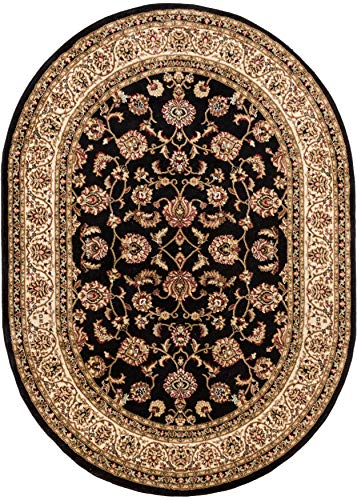 Well Woven Noble Sarouk Black Oriental 4 Oval (3'11'' x 5'9'' Oval) Area Rug Traditional Persian Floral Carpet