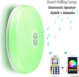 Ceiling Lamp with Bluetooth Speaker Smart APP Control Music LED Ceiling Light 24W RGBW Dimmable Round Mount Lighting for Kitchen Bathroom Dining Room(APP Control)