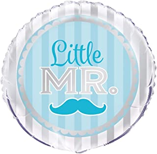 "Unique Little Mr. Blue Moustache Foil Balloon, Multi, 45cm (18"")"