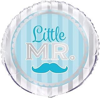 """Unique Little Mr. Blue Moustache Foil Balloon, Multi, 45cm (18"""")"""