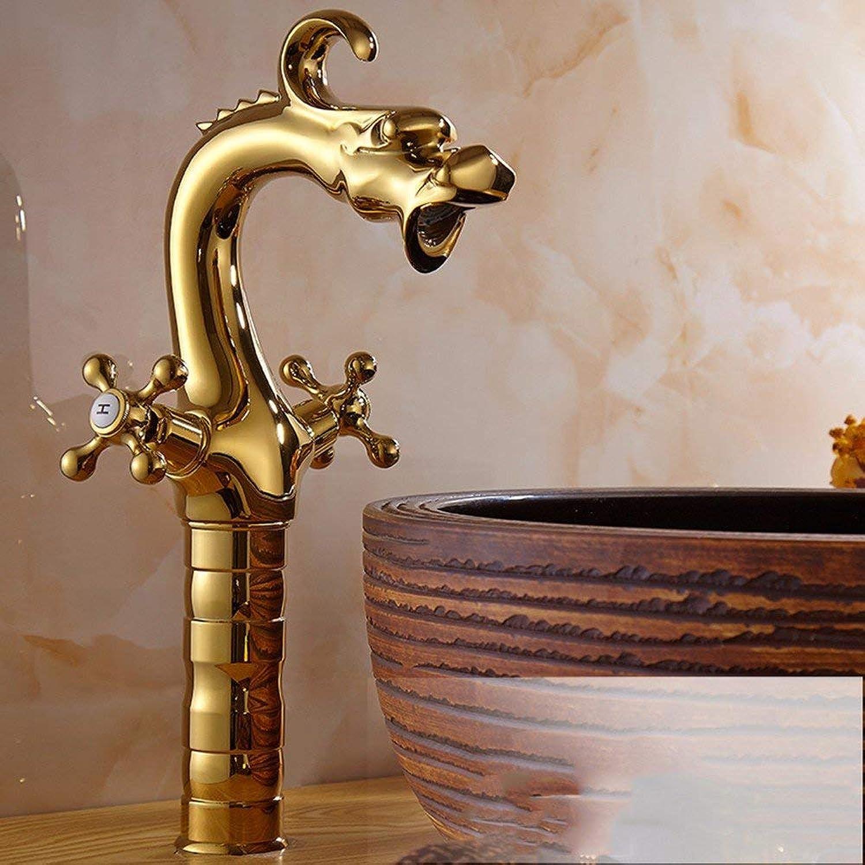 CFHJN Home Im europischen Stil Retro-Stil Kupfer hei und kalt das Waschen des Gesichtes Single Bad Wasserhahn