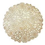VUDECO Round Gold Placemats Set of 6 Elegant Fancy Charger for Dining Table Holiday Wedding Decorative Placemats Charger Table Setting Place Mats Kitchen Table Mats Round Vinyl Placemats for Table
