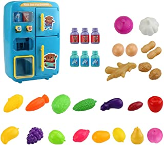 Goolsky 31PCS IN 1 Kitchen Play Toy Mini Vending Refrigerators Early Educational Toys for Kids Children