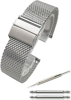Calme(カルム) 腕時計 メッシュ ベルト ミラネーゼ ステンレス プッシュ式 Dバックル 18㎜ ~ 24㎜ 交換説明書付き (20㎜, シルバー)