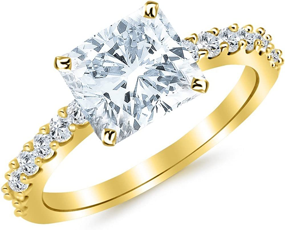 Year-end gift 1.25 Ctw 14K White Gold 2021 spring and summer new Classic Set Certifi Stone Prong GIA Side