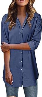 Style Dome Blusa Vaquera Camisa de Mujer Botones Elegantes de Manga Larga para Mujer Blusa de Mujer Túnica de Mujer Elegan...